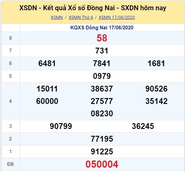 Kết quả XSMN đài Đồng Nai kỳ trước, thứ 4 ngày 17/6/2020