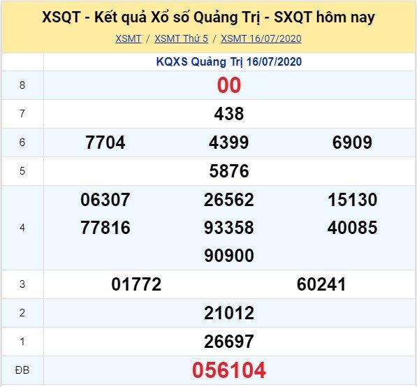 Kết quả XSMT đài Quảng Trị kỳ trước, thứ 5 ngày 16/7/2020